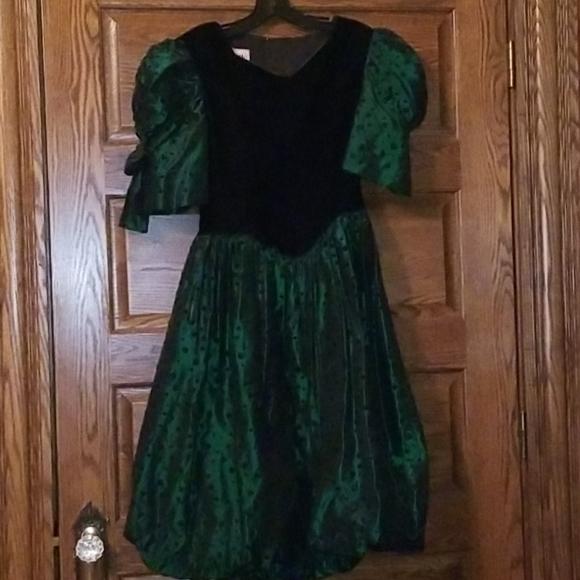Beautiful green satin velour victorian girls dress